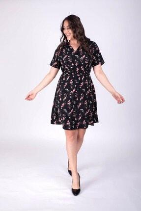 MYLİNE Kadın Siyah Çiçek Desenli Elbise 34402