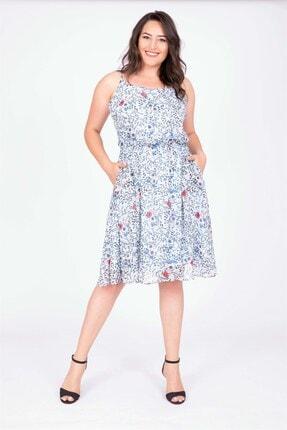 MYLİNE Kadın Açık Mavi İp Askılı Beli Lastikli Elbise 34662