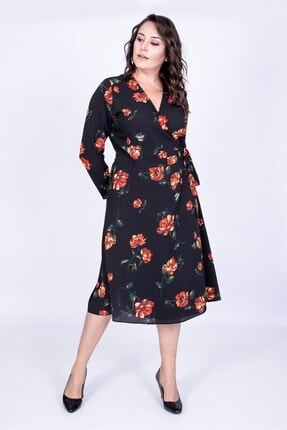 MYLİNE Kadın Siyah Çiçek Desenli Anvelop Elbise