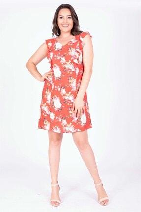 MYLİNE Kadın Kırmızı Omuzları Volanlı Elbise 34784
