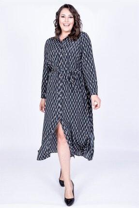 MYLİNE Kadın Siyah Gömlek Elbise 35106