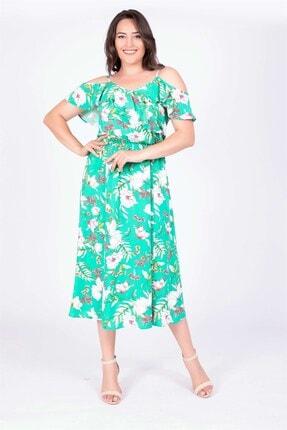 MYLİNE Kadın Yeşil Kolları Volanlı Elbise 34882