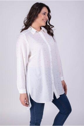 MYLİNE Kadın Beyaz Yaldız Baskılı Uzun Gömlek 34338