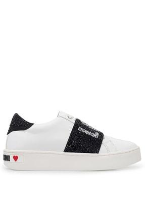 Moschino Kadın Beyaz Hakiki Deri Ayakkabı