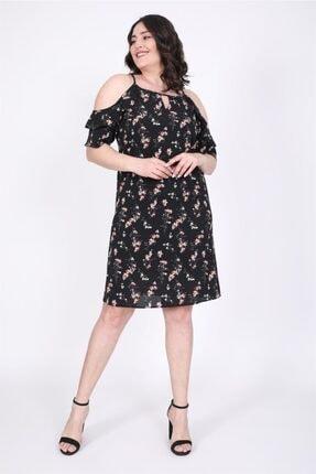 MYLİNE Kadın Siyah Kolları Pencereli Fırfırlı Elbise