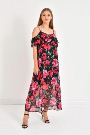 MYLİNE Kadın Siyah Volanlı Maxi Elbise