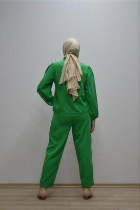 Kadın Yeşil Gömlek Pantolon İkili Takım PMBCKT00000227388236