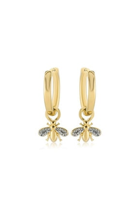 Valori Jewels Mini Arı, Swarovski Zirkon Taşlı, Altın Rengi Gümüş Küçük Boy Taşsız Halka Charm Küpe