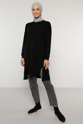 Everyday Basic Kadın Siyah Doğal Kumaşlı Yırtmaç Detaylı Basic Tunik  1784979