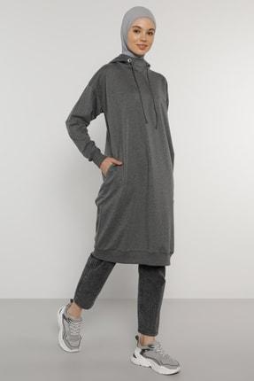 Everyday Basic Kadın Antrasit Kapüşonlu Sweatshirt  1749442