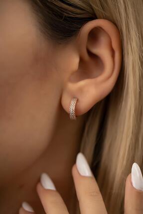 İzla Design Kadın Tamtur Çift Sıra Model Rose Kaplama Gümüş İtalyan Küpe