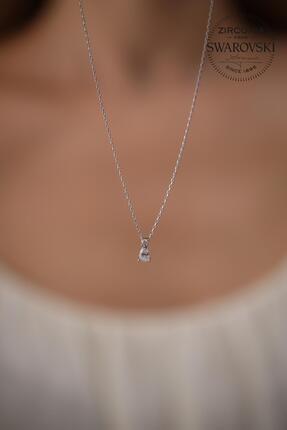 Ninova Silver Kadın Taşlı Damla Model Gümüş Kolye