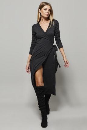 Cool & Sexy Kadın Antrasit Kruvaze Maxi Elbise EY1135