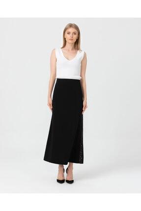 Seçil Kadın Siyah Pul Detaylı Klasik Kesim Uzun Etek 02019