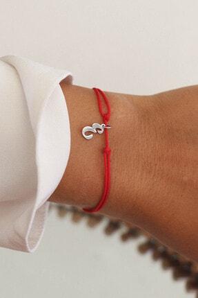 Lima Designers Kadın E Harf Kırmızı Bileklik