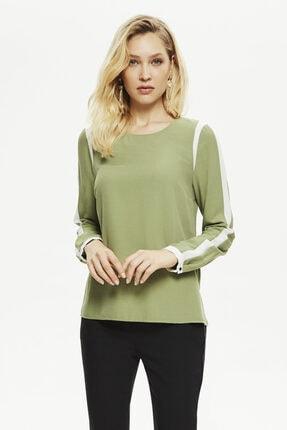 Naramaxx Kadın Yeşil Kontrast Detaylı Bluz