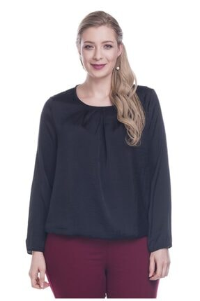 MYLİNE Kadın Siyah Eteği Lastikli Saten Bluz