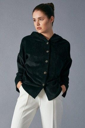 Robin Kadın Siyah Kapişonlu Kadife Gömlek