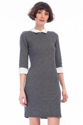 Cotton Mood Kadın Kazayağı Füme Balıksırtı Gömlek Yaka Manşet Detaylı Elbise 8450275