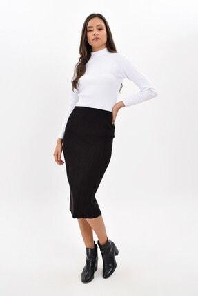 Cotton Mood Kadın Siyah Triko Yırtmaçlı Kalem Etek 9426188