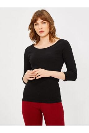 Vekem Kadın Siyah Kayık Yaka Truvakar Kol Bluz