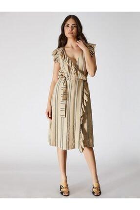 Vekem Kadın Bej Kolsuz Midi Anvelop Elbise