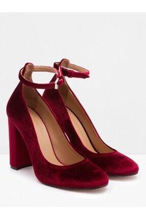Vekem Kadın Bordo Bilekten Bağlamalı Kadife Topuklu Ayakkabı
