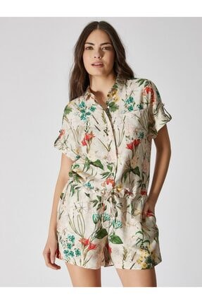 Vekem Kadın Bej Çiçek Desenli Gömlek Yaka Çiçek Desenli Şort Tulum 9138-0004