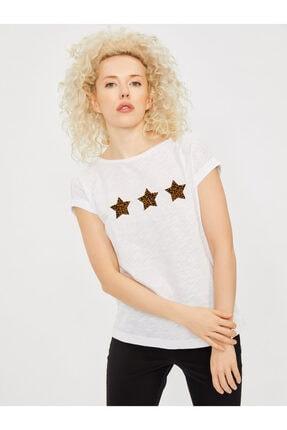 Vekem Kadın Beyaz Kayık Yaka Japone Kol Baskılı Bluz 9113-0019