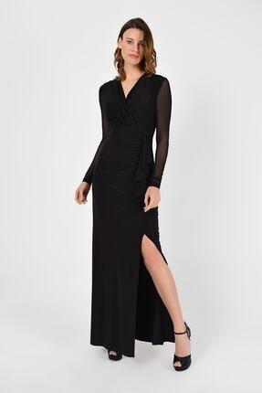 Laranor Kadın Siyah Yırtmaç Detay Volanlı Balık Elbise