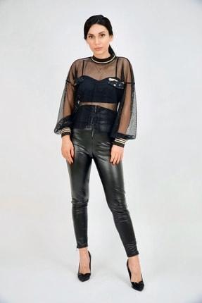 Lila Rose Kadın Siyah Ekstra Yüksek Bel Kemerli Skinny Deri Pantolon