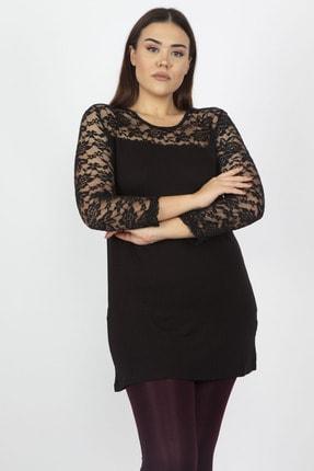 Şans Kadın Siyah Dantel Detaylı Bluz 65N20602
