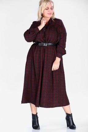 Nesrinden Kadın Desenli Cepli Ekose Elbise