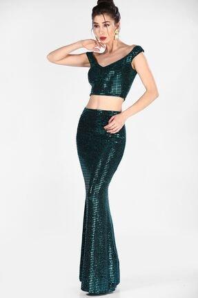 Nesrinden Pullu Yeşil Kadın Balık Model Abiye Ikili Takım