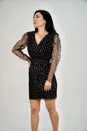 Lila Rose Kadın Siyah Gold Simli Mini Tül Elbise