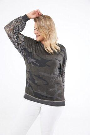 Seamoda Kadın Antrasit Kamuflaj Desen Kolu Dantelli  Büyük Beden Sweatshirt
