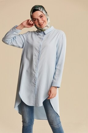 Nihan Kadın Açık Mavi Tencel Basic Tunik X3305