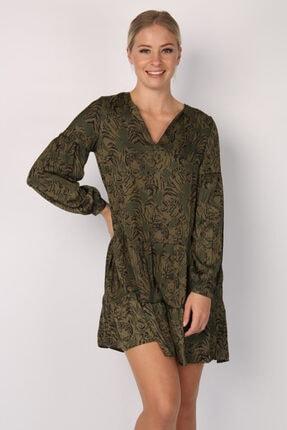 Vero Moda Kadın Yeşil Kaplan Desenli V Yaka Elbise 10227771 VMKATE