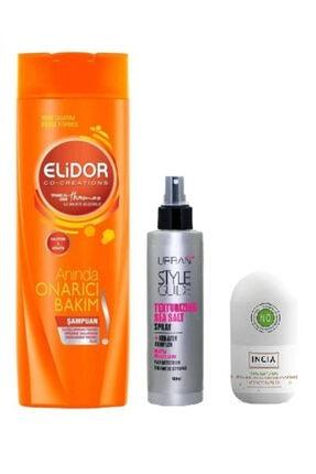 Elidor Onarıcı Bakım Şampuan 200 ml+Deniz Suyu Etkili Doğal Şekillendirici Sprey+ Beyazlatıcı Rollon