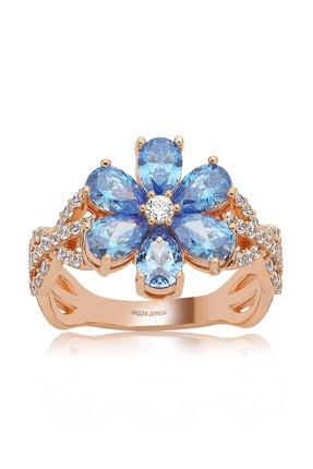 Valori Jewels 2 Karat Swarovski Zirkon Mavi Damla Taşlı, Rose Gümüş Çiçek Yüzük