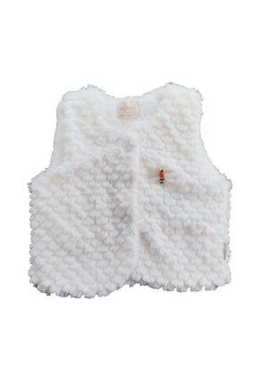 Dandini Unisex Bebek Beyaz Çıtçıt Düğmeli Renkli Kabarık Yünlü Pamuklu Kadife Yelek