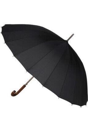 Almera Ahşap Saplı Siyah 24 Telli Protokol Şemsiye 120 Cm