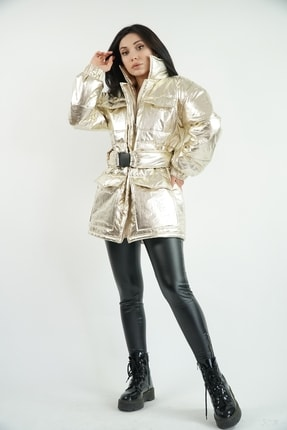 Lila Rose Kadın Gold Renk Parlak Kapitone Oversize Mont