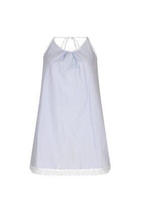 GTNight Mavi Kareli Boyundan Bağlamalı Elbise