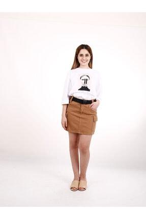 Kadın Baskılı Basic Beyaz Tshirt PMBCKT1111199900291