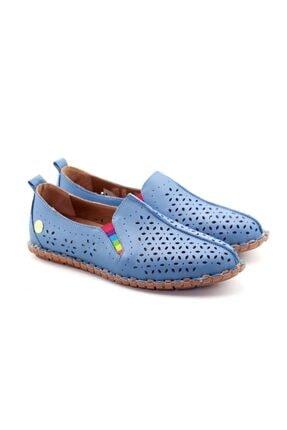 Kadın Mavi Hakiki Deri Ayakkabı 20YHAZA2917