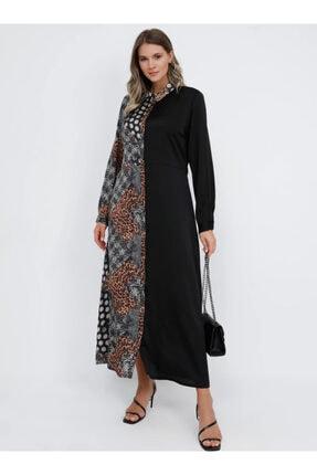 Alia Kadın Kahverengi Gizli Düğmeli Gömlek Elbise 1089395