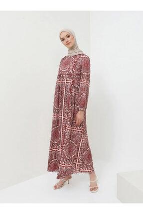 Benin Kadın Bordo Biye Detaylı Desenli Elbise 1048937