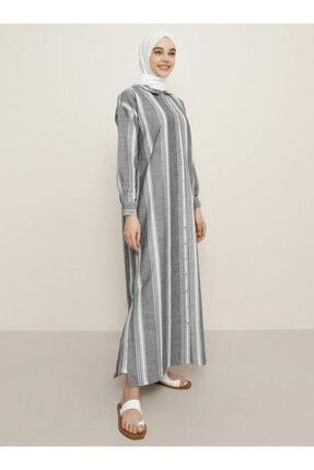Benin Kadın Siyah Boydan Düğmeli Tunik Elbise 1457475