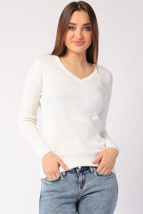 Twister Jeans Kadın Ekru Fitilli V Yaka Triko 32809